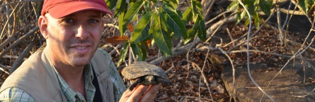 Michael Tuma with pancake tortoise